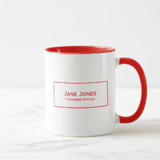 Personalize:  Modern Minimalist Red and White Mug