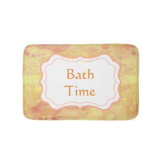 Personalize Modern Watercolor Paint Design Bath Mats