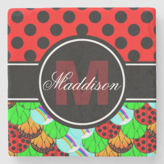 Personalize Monogram Butterfly Ladybug Rainbow Stone Coaster