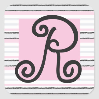 Personalize Monogram Pink Striped Stickers