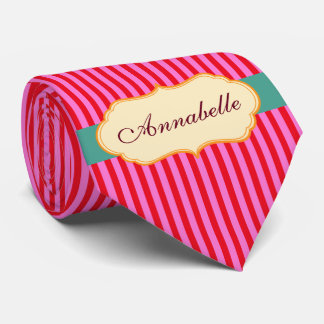 Personalize Monogram Teal Candy Stripes Pattern Tie