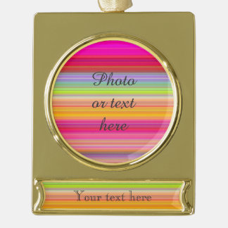 Personalize - Multicolor gradient background Gold Plated Banner Ornament
