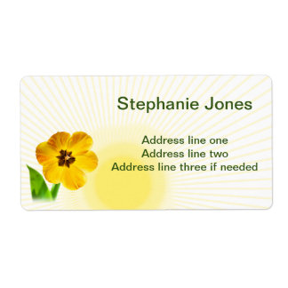 Personalize:  Name and Address Yellow Tulips Pic Shipping Label