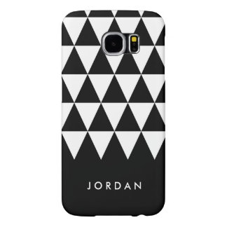 Personalize Name Black White Minimalist Triangle Samsung Galaxy S6 Cases