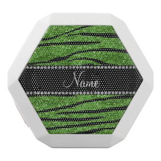 Personalize name bright green glitter zebra stripe white boombot rex bluetooth speaker