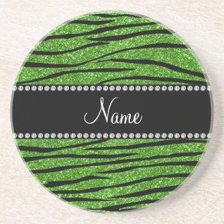 Personalize name bright green glitter zebra stripe coaster