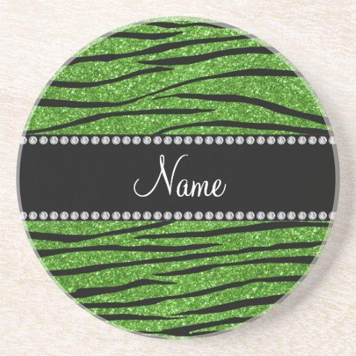 Personalize name bright green glitter zebra stripe drink coasters