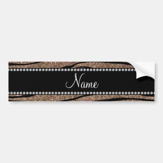 Personalize name brown glitter zebra stripes bumper sticker