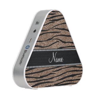 Personalize name brown glitter zebra stripes bluetooth speaker