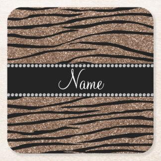 Personalize name brown glitter zebra stripes square paper coaster