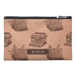 Personalize Name Brown Vintage Typewriter Pattern Travel Accessory Bags