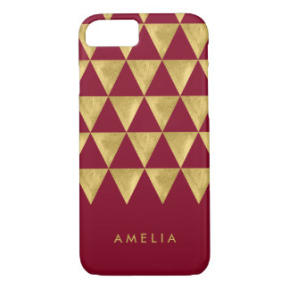 Personalize Name Burgundy Faux Gold Triangle iPhone 8/7 Case
