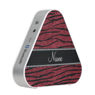 Personalize name burgundy glitter speaker