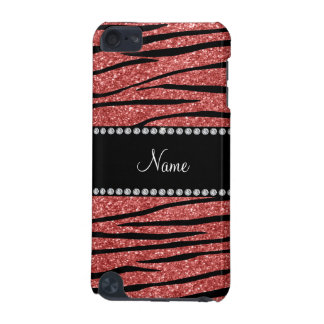 Personalize name coral pink glitter zebra stripes iPod touch 5G case