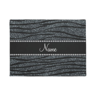 Personalize name dark gray glitter zebra stripes doormat