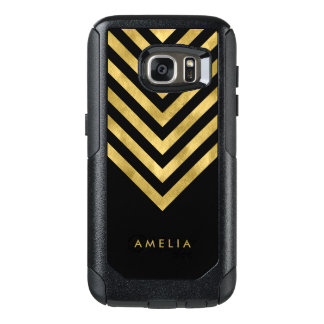 Personalize Name Elegant Black Geometric Chevron OtterBox Samsung Galaxy S7 Case