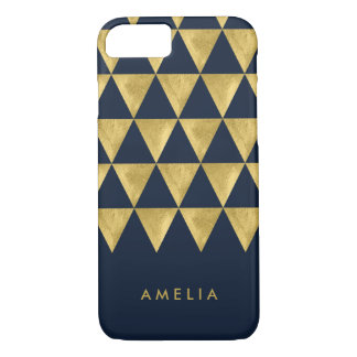 Personalize Name Elegant Blue Faux Gold Triangle iPhone 8/7 Case