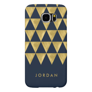 Personalize Name Elegant Blue Triangle Geometric Samsung Galaxy S6 Cases