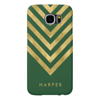 Personalize Name Elegant Green Faux Gold Geometric Samsung Galaxy S6 Cases