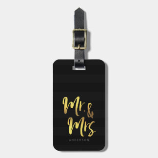 Personalize Name Elegant Mr & Mrs Black Stripes Luggage Tag