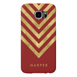 Personalize Name Elegant Red Faux Gold Geometric Samsung Galaxy S6 Cases