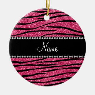 Personalize name fuchsia pink glitter zebra stripe round ceramic decoration