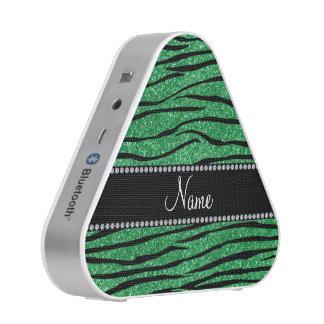 Personalize name green glitter zebra stripes speaker