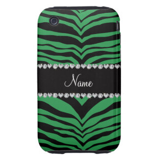 Personalize name green tiger stripes iPhone 3 tough case