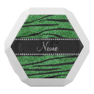 Personalize name light green glitter zebra stripes white boombot rex bluetooth speaker