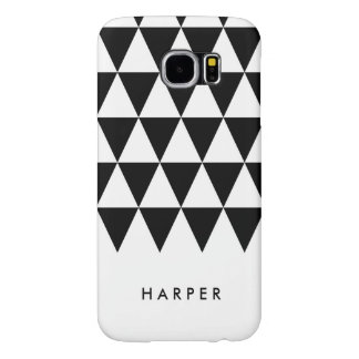 Personalize Name Minimalist Black Triangles Samsung Galaxy S6 Cases