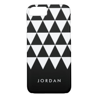 Personalize Name Minimalist Black & White Triangle iPhone 8/7 Case