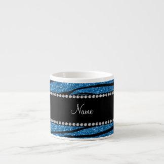 Personalize name misty blue glitter zebra stripes espresso mug
