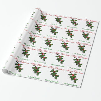 Personalize Name Modern Christmas Holly Paper