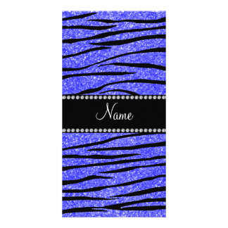 Personalize name neon blue glitter zebra stripes photo card