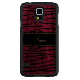 Personalize name neon hot pink glitter zebra carved® walnut galaxy s5 case