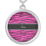 Personalize name neon hot pink glitter zebra strip custom necklace