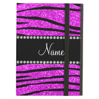 Personalize name neon pink glitter zebra stripes iPad air case