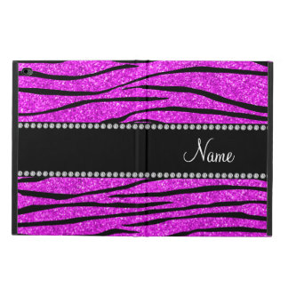 Personalize name neon pink glitter zebra stripes powis iPad air 2 case