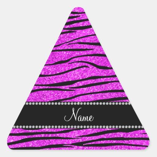 Personalize name neon pink glitter zebra stripes sticker