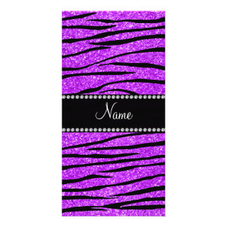 Personalize name neon purple glitter zebra stripes personalized photo card