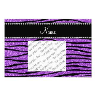 Personalize name pastel purple glitter zebra strip photograph