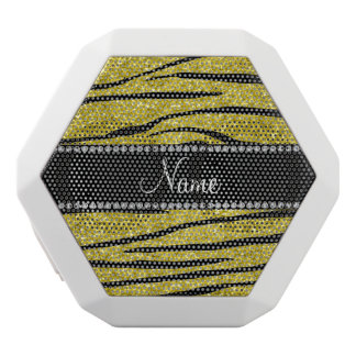 Personalize name pastel yellow glitter zebra strip white boombot rex bluetooth speaker