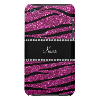 Personalize name pink glitter zebra stripes barely there iPod cases