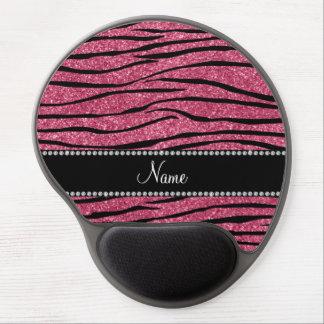 Personalize name pink glitter zebra stripes gel mouse mat