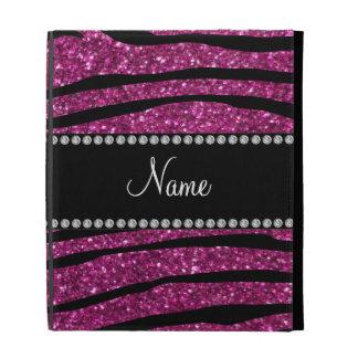 Personalize name pink glitter zebra stripes iPad folio covers