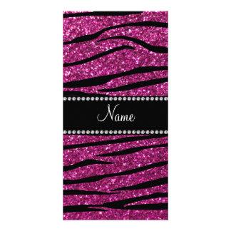 Personalize name pink glitter zebra stripes photo cards