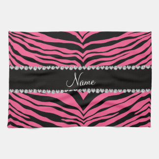 Personalize name pink tiger stripes tea towel