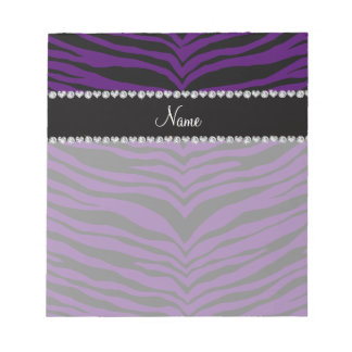 Personalize name purple tiger stripes notepad