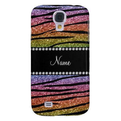 Personalize name rainbow glitter zebra stripes galaxy s4 cases