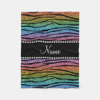 Personalize name rainbow glitter zebra stripes fleece blanket